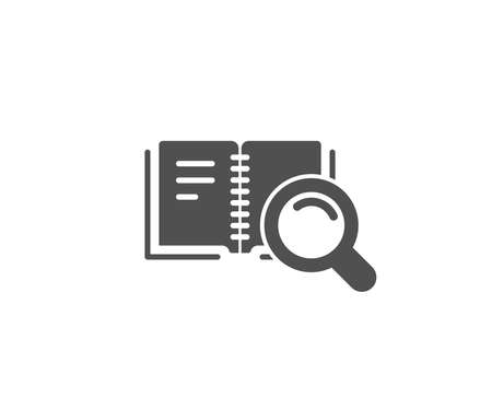 Search in Book simple icon. Education symbol. Instruction or E-learning sign. Quality design elements. Classic style. Vector Illustration