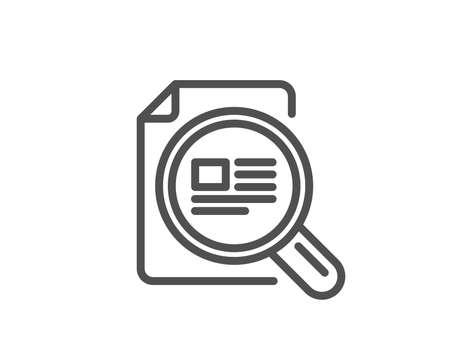 記事の行アイコンを確認します。○ オピライト記号。虫眼鏡の記号。品質設計要素。編集可能なストローク。ベクトル  イラスト・ベクター素材