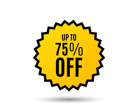 Up to 75% off Sale. Discount offer price sign. Special offer symbol. Save 75 percentages. Star button. Graphic design element. Vector Standard-Bild - 95164307