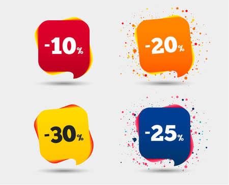 Sale discount icons. Special offer price signs. 10, 20, 25 and 30 percent off reduction symbols. Speech bubbles or chat symbols. Colored elements. Vector 向量圖像