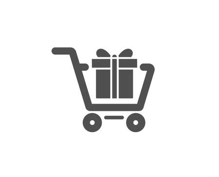 Shopping cart with Gift box simple icon. Present or Sale sign. Birthday Shopping symbol. Package in Gift Wrap. Quality design elements. Classic style. Vector Ilustração