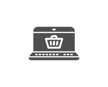 Online Shopping cart simple icon. Laptop sign. Supermarket basket symbol. Quality design elements. Classic style. Vector