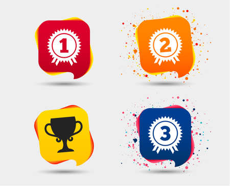First, second and third place icons. Award medals sign symbols. Prize cup for winner. Speech bubbles or chat symbols. Colored elements. Vector Illustration