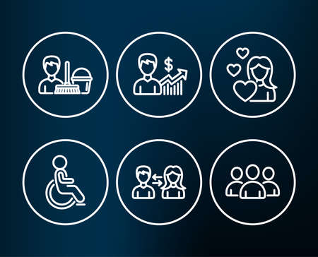 Set of Disabled, Business growth and Cleaning service icons. People communication, Love and Group signs. Handicapped wheelchair, Earnings results, Bucket with mop. Vector