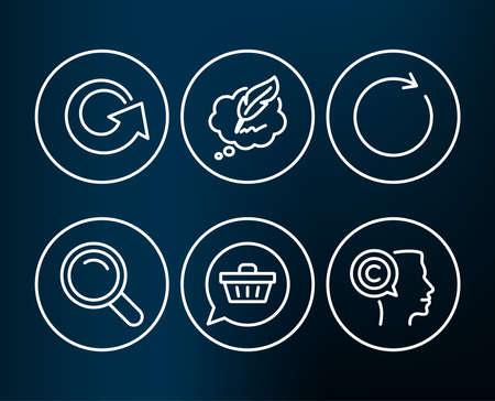 ショッピングカート、リロードと同期アイコンのセット。検索、○オピライトチャットとライターサイン。ギフト、更新、更新や更新の夢。虫眼鏡  イラスト・ベクター素材