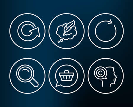 Set of Shopping cart, Reload and Synchronize icons. Search, Сopyright chat and Writer signs. Dreaming of gift, Update, Refresh or update. Magnifying glass, Speech bubble, Copyrighter. Vector 向量圖像