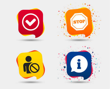 Information icons. Stop prohibition and user blacklist signs. Approved check mark symbol. Speech bubbles or chat symbols. Colored elements. Vector