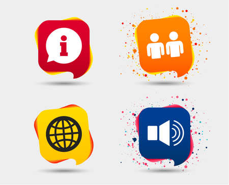 Information sign. Group of people and speaker volume symbols. Internet globe sign. Communication icons. Speech bubbles or chat symbols. Colored elements. Vector  イラスト・ベクター素材