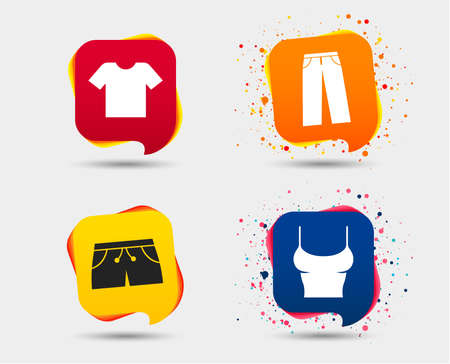 Clothes icons. T-shirt and pants with shorts signs. Swimming trunks symbol. Speech bubbles or chat symbols. Colored elements. Vector Illustration