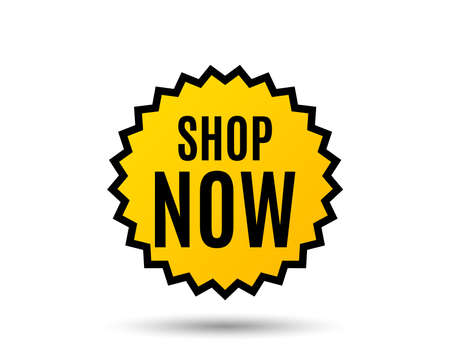 Shop now symbol. Special offer sign. Retail Advertising. Star button. Graphic design element. Vector
