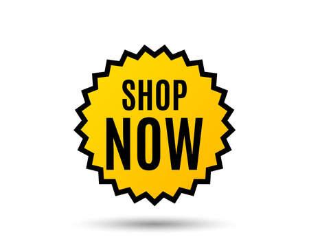 Nu winkelen symbool. Speciale aanbieding teken. Retailreclame. Ster knop. Grafisch ontwerpelement. Vector