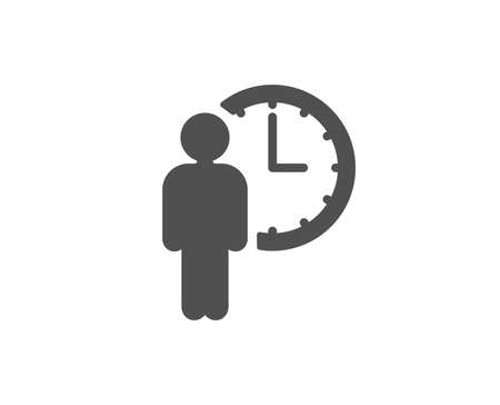 Person waiting simple icon. Service time sign. Clock symbol. Quality design elements. Classic style. Vector Vectores