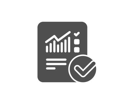 Checklist document simple icon. Analysis Chart or Sales growth report sign. Statistics data symbol. Quality design elements. Classic style. Vector