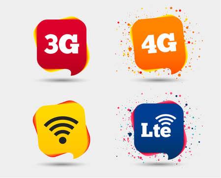 Icônes de télécommunications mobiles. Symboles des technologies 3G, 4G et LTE. Signes d'évolution Wifi sans fil et à long terme. Bulles ou symboles de chat. Éléments colorés. Vecteur