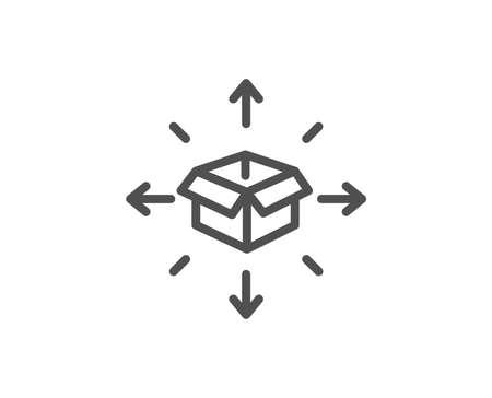 Parcel delivery line icon. Logistics service sign. Tracking symbol. Quality design element. Editable stroke. Vector Ilustração