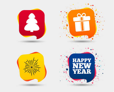 Happy new year icon. Christmas tree and gift box signs. Fireworks explosive symbol. Speech bubbles or chat symbols. Colored elements. Vector Illustration