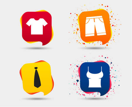 Clothes icons such as T-shirt and Bermuda shorts signs.