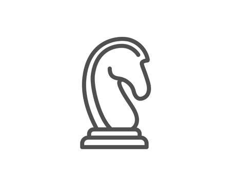 Chess Knight line icon. Marketing strategy symbol. Business targeting sign. Quality design element. Editable stroke. Vector