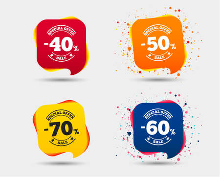Sale discount icons. Special offer stamp price signs. 40, 50, 60 and 70 percent off reduction symbols. Speech bubbles or chat symbols. Colored elements. Vector