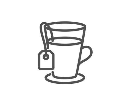 Tea with bag line icon. Hot drink sign. Fresh beverage symbol. Quality design element. Editable stroke. Vector Иллюстрация