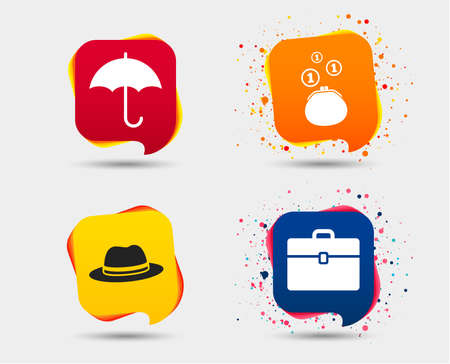 Clothing accessories icons. Umbrella and headdress hat signs. Wallet with cash coins, business case symbols. Speech bubbles or chat symbols. Colored elements. Vector Archivio Fotografico - 95164418
