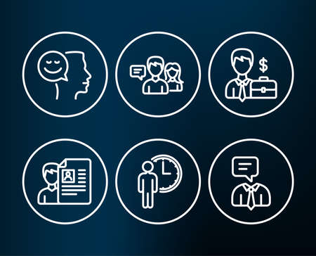 Set of Job interview, Waiting and People talking icons. Businessman case, Good mood and Support service signs. Cv file, Service time, Human resources. Positive thinking, Human talking. Vector Illustration
