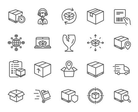 Iconos de línea de logística y envío. Conjunto de signos de entrega de camión, caja y lista de verificación. Carro de empuje, seguimiento de paquetes y comercio mundial. Pin de ubicación, seguro de mercancías y documento con símbolos de código de barras. Vector Ilustración de vector