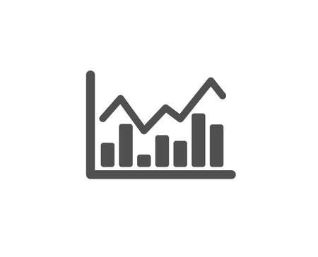 Financial chart simple icon. Economic graph sign. Stock exchange symbol. Business investment. Quality design elements. Classic style. Vector Illustration