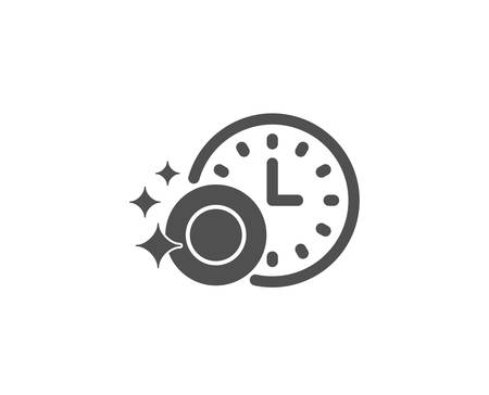 Cleaning dishes with Time simple icon.