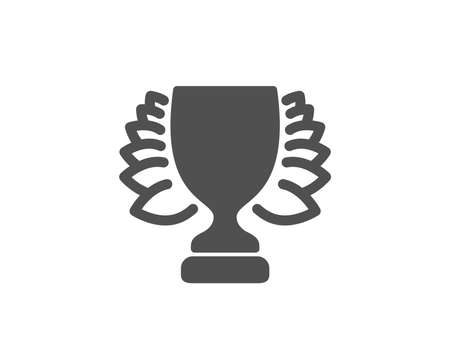 Award cup simple icon. Winner Trophy with Laurel wreath symbol. Sports achievement sign. Quality design elements. Classic style. Vector