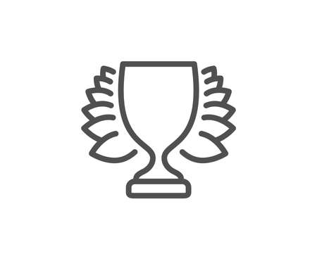 Award cup line icon. Winner Trophy with Laurel wreath symbol. Sports achievement sign. Quality design element. Editable stroke. Vector