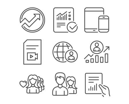 Set of Couple, Checked calculation and Video file icons. Audit, Ð¡areer ladder and Mobile devices signs. Woman love, International recruitment and Document symbols. Vector
