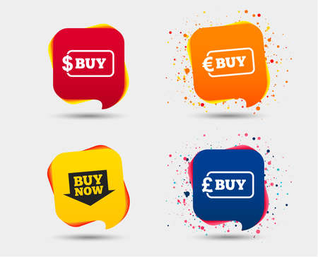 Buy now arrow icon. Online shopping signs. Dollar, euro and pound money currency symbols. Speech bubbles or chat symbols. Colored elements. Vector Illustration