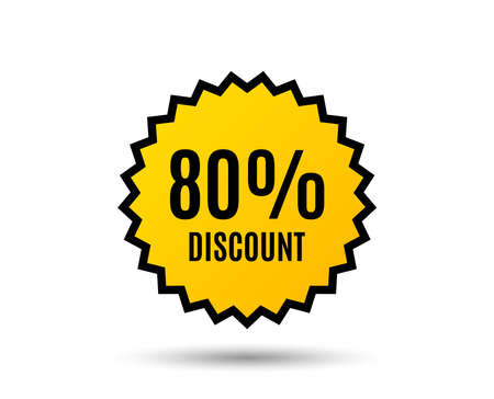 80% Discount. Sale offer price sign. Special offer symbol. Star button. Graphic design element. Vector