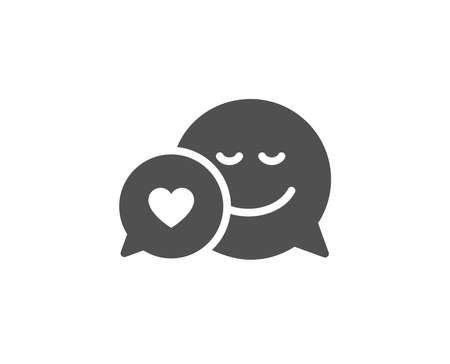 Comic speech bubble with Smile simple icon. Chat emotion with heart sign. Quality design elements. Classic style. Vector