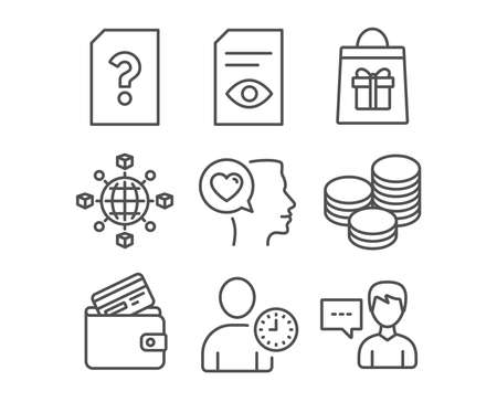 Set of View document, Unknown file and Tips icons. Holidays shopping, Time management and Debit card signs. Romantic talk, Logistics network and Person talk symbols. Vector Illustration