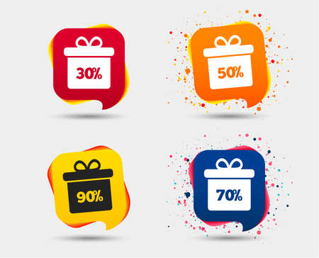 Sale gift box tag icons. Discount special offer symbols. 30%, 50%, 70% and 90% percent discount signs. Speech bubbles or chat symbols. Colored elements. Vector