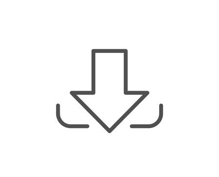 Download Arrow line icon. Down arrowhead symbol. Direction or pointer sign. Quality design element. Editable stroke. Vector 向量圖像