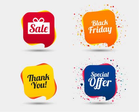 Icônes de vente. Offre spéciale et symboles de remerciement. Signe de boîte cadeau. Bulles ou symboles de chat. Éléments colorés. Vecteur