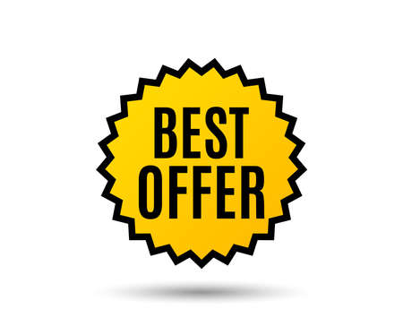 Best offer. Special price Sale sign. Advertising Discounts symbol. Star button. Graphic design element. Vector 写真素材 - 95405281