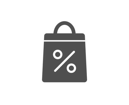 Shopping bag with Percentage simple icon. Supermarket buying sign. Sale and Discounts symbol. Quality design elements. Classic style. Vector