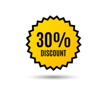 30% Discount. Sale offer price sign. Special offer symbol. Star button. Graphic design element. Vector