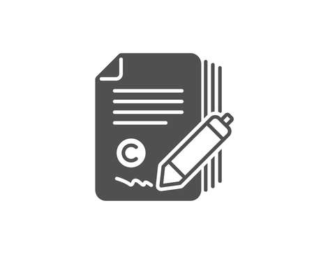 Copywriting simple icon. Сopyright signature sign. Feedback symbol. Quality design elements. Classic style. Vector