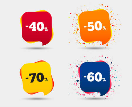 Sale discount icons. Special offer price signs. 40, 50, 60 and 70 percent off reduction symbols. Speech bubbles or chat symbols. Colored elements. Vector Çizim