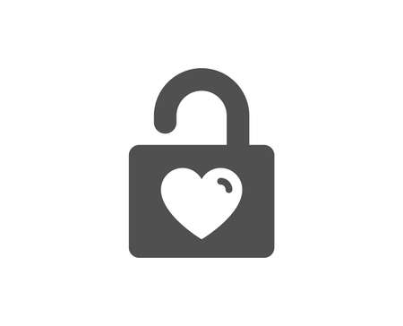 Locker with Heart simple icon. Love symbol. Valentines day or Wedding sign. Quality design elements. Classic style. Vector