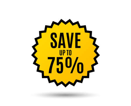 Save up to 75%. Discount Sale offer price sign. Special offer symbol. Star button. Graphic design element. Vector