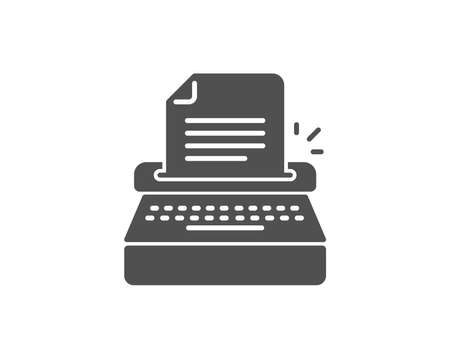 Typewriter simple icon. Copywriting sign. Writer machine symbol. Quality design elements. Classic style. Vector
