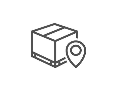 Parcel tracking line icon. Delivery monitoring sign. Shipping box location symbol. Quality design element. Editable stroke. Vector 일러스트