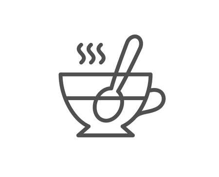 스푼 라인 아이콘으로 컵입니다. 신선한 음료 기호입니다. 라 떼 또는 커피 기호입니다. 품질 디자인 요소입니다. 편집 가능한 획. 벡터
