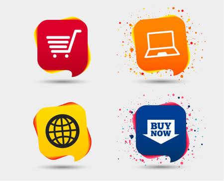 Online shopping icons. Notebook pc, shopping cart, buy now arrow and internet signs. WWW globe symbol. Speech bubbles or chat symbols. Colored elements. Vector
